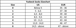 Yazbeck-Socks-Sizechart