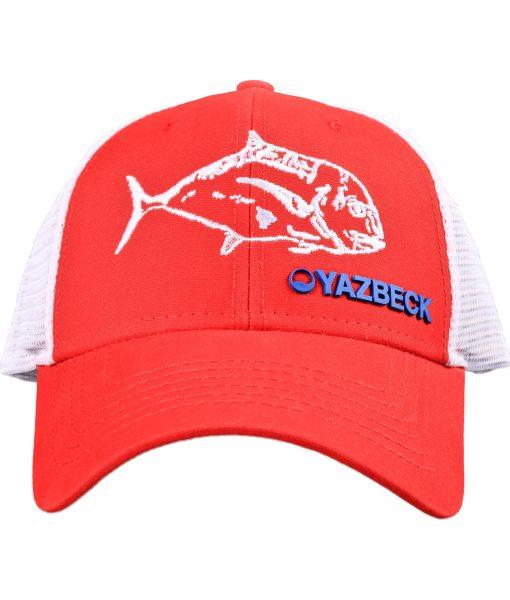 yazbeck-red-ulua-trucker-cap-front-design-Desmond-Thain
