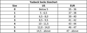 Yazbeck-Socks-Sizechart